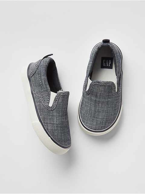 8236a4cb13c Chambray slip-on sneakers