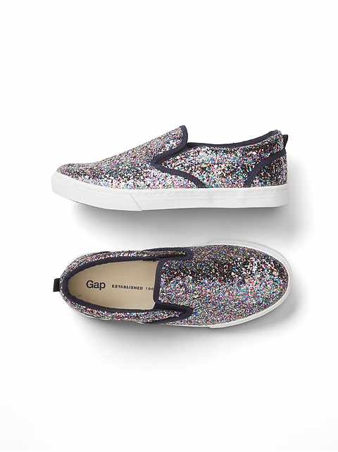 7e46a13d7547 Kids Glitter Slip-On Sneakers