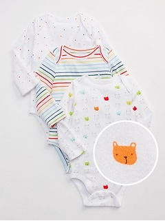 First Favorite Bear Long Sleeve Bodysuit 3 Pack