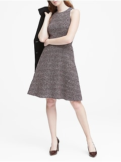 Tweed Racer Neck Fit And Flare Dress