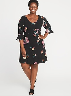 V Neck Flute Sleeve Fit Flare Plus Size Dress