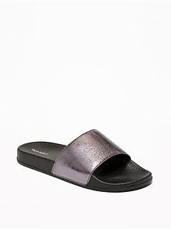 0b39178932c Faux-Leather Pool Slide Sandals for Women