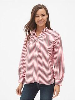 Stripe Shirred Popover Shirt
