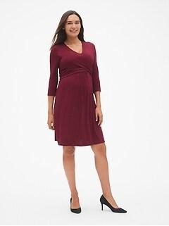 aea3d7dfdc70e Maternity Three-Quarter Sleeve Wrap Dress