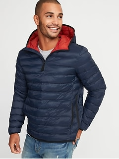 406a73f3f62 Water-Resistant Quilted 1 4-Zip Hooded Jacket for Men