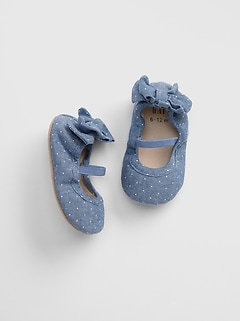 aa16e5ba9397 Chambray Dot Bow Ballet Flats