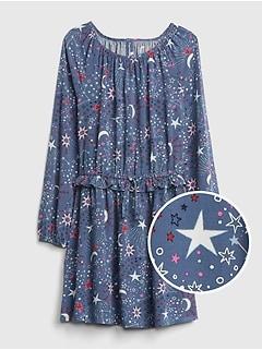 2b47a5a7046f Print Ruffle Cinched-Waist Dress