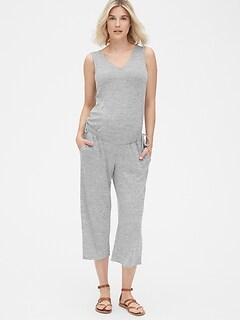 5fe80a12c3466 Maternity Softspun Sleeveless Tie-Waist Jumpsuit