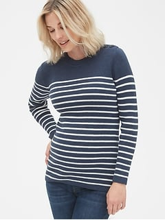 765fbe338ba55 Maternity Stripe Button-Shoulder Pullover Sweater