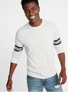 Striped-Sleeve Crew-Neck Sweater for Men 3a8efa84e