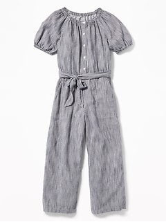 Striped Tie-Belt Wide-Leg Jumpsuit for Girls 691ce12c444c