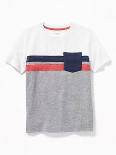84076261 Color-Blocked Chest-Stripe Pocket Tee for Boys