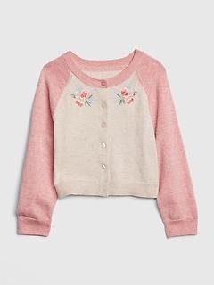 9569aed6b9 Toddler Embroidered Raglan Cardigan Sweater