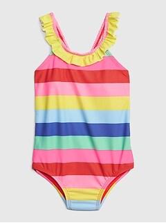 335f9af37999b Toddler Rainbow Stripe Ruffle Swim One-Piece