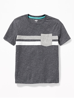 eb9ebb0578 Color-Blocked Chest-Stripe Pocket Tee for Boys