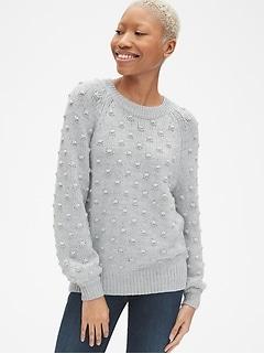 283f1a17ec49d Bobble Stitch Blouson Sleeve Pullover Sweater
