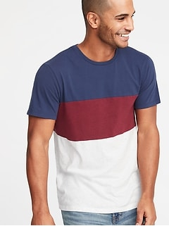 5a370c00a91 Pieced Color-Block Crew-Neck Tee for Men