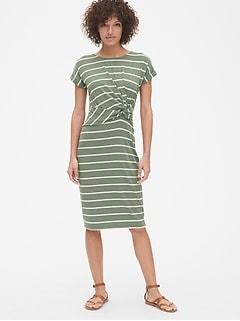 Softspun Stripe Short Sleeve Twist-Knot Midi Dress 9d523fd0a