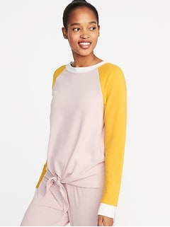 4893560043 Relaxed French-Terry Tie-Front Sweatshirt for Women