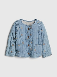 0a9587f5a Toddler Floral Print Denim Quilted Jacket