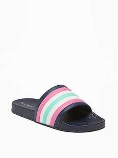 ef6a4c373be Striped Faux-Leather Pool Slide Sandals for Girls