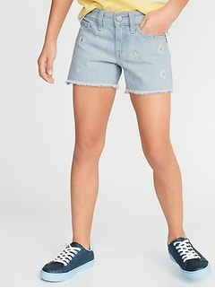 7b85b84128 Embroidered Daisy-Graphic Denim Cut-Offs for Girls