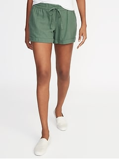 efe04a1b0 Mid-Rise Linen-Blend Shorts for Women - 4-inch inseam