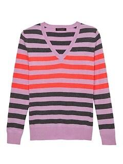 4d958bfc915c6 Cashmere Stripe V-Neck Sweater
