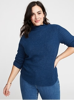 194b6dcc00 Directional Rib-Knit Plus-Size Mock-Neck Sweater