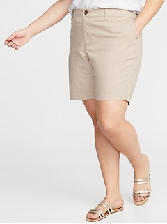 9911c24b02f7a Mid-Rise Everyday Twill Plus-Size Shorts - 9-inch inseam