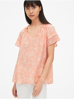 715373a0e2a Floral Print Flutter Sleeve Split-Neck Top