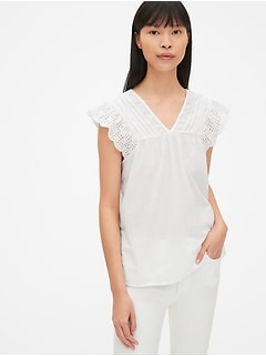 c7faaff5a87 Eyelet Embroidered Flutter Sleeve V-Neck Top