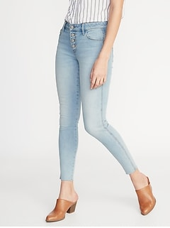 0298a5c2415 Mid-Rise Button-Fly Raw-Edge Rockstar Ankle Jeans for Women