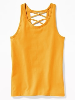 e39dd8d46413a4 Strappy Cross-Back Jersey Tank for Girls