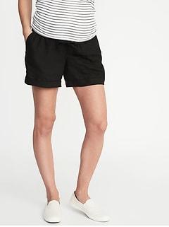 315ecf87df579 Maternity Rollover-Waist Linen-Blend Shorts - 5-inch inseam