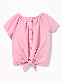 a7f18594444 Button-Front Tie-Hem Jersey Top for Toddler Girls