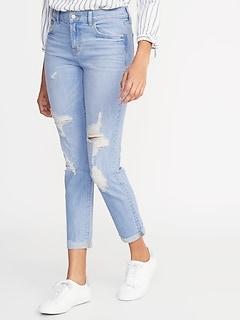 2fd6d73cc032d5 Mid-Rise Distressed Boyfriend Straight Jeans for Women