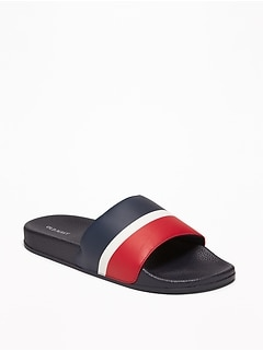 f5612f803215 Faux-Leather Pool Slide Sandals for Men