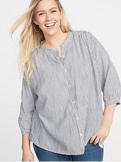 c6fd5b98b74 Striped Banded-Collar No-Peek Plus-Size Shirt