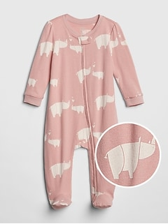 53e77366d255d Organic Cotton Rhino Footed One-Piece