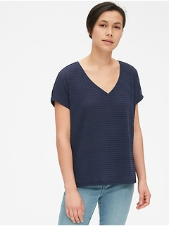 8a7545e71e7 Soft Slub Stripe V-Neck T-Shirt