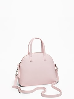 173b967ff37 Faux-Leather Dome-Shaped Satchel for Women