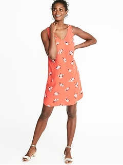 Sleeveless V-Neck Shift Dress for Women d5eb330e93da