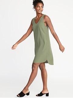 9ba056e815 Sleeveless V-Neck Shift Dress for Women