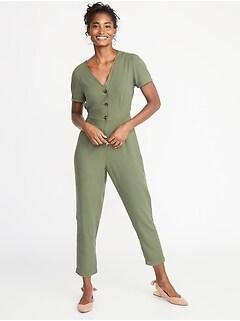 39bf0ea377e V-Neck Button-Front Jumpsuit for Women