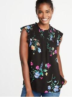 49fcf1ae74fcc Floral-Print Smocked-Yoke Flutter-Sleeve Blouse for Women