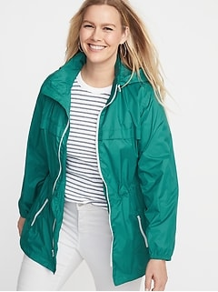 ab3d38a34a9c Water-Resistant Plus-Size Hooded Windbreaker