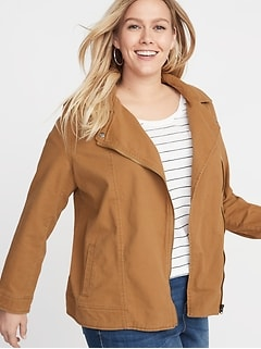 617b4a2b4e5 Save More with Code at Checkout. Plus-Size Twill Moto Jacket