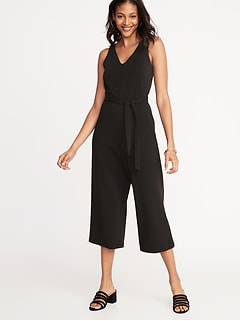 4b19720546e Textured Ponte-Knit Tie-Belt Jumpsuit for Women