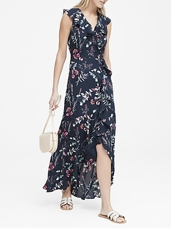 0088d7f947 Petite Floral Ruffle-Wrap Maxi Dress
